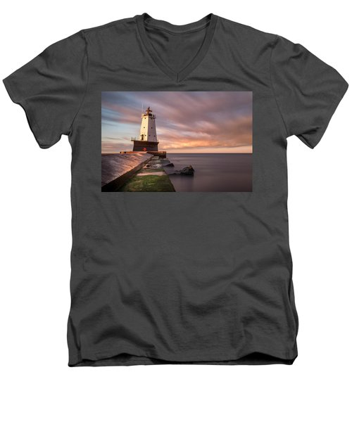 Men's V-Neck T-Shirt featuring the photograph Ludington Light Sunrise Long Exposure by Adam Romanowicz