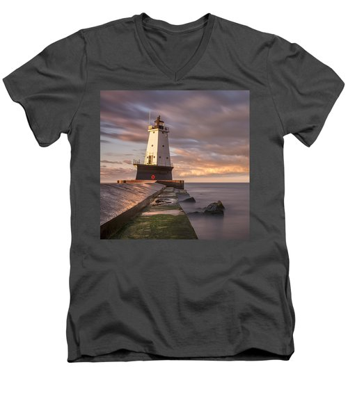 Men's V-Neck T-Shirt featuring the photograph Ludington North Breakwater Light At Dawn by Adam Romanowicz