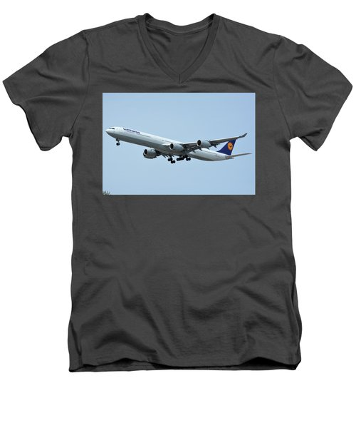 Men's V-Neck T-Shirt featuring the photograph Lufthansa Airbus A340-600 D-aihw Los Angeles International Airport May 3 2016 by Brian Lockett