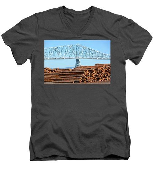 Lumber Mill In Rainier Oregon Men's V-Neck T-Shirt