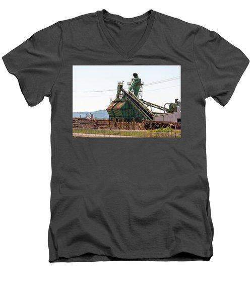 Lumber Mill Sawdust Machinery Men's V-Neck T-Shirt