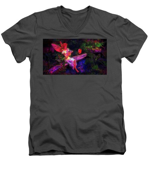Men's V-Neck T-Shirt featuring the photograph Luminescent Night Fairy by Lori Seaman