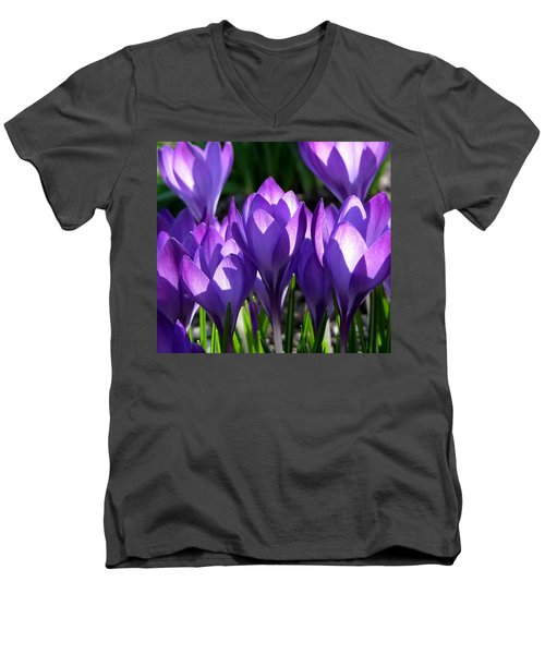 Men's V-Neck T-Shirt featuring the photograph Luminous Floral Geometry by Byron Varvarigos