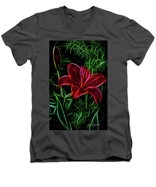 Luminous Lily Men's V-Neck T-Shirt by Joann Copeland-Paul