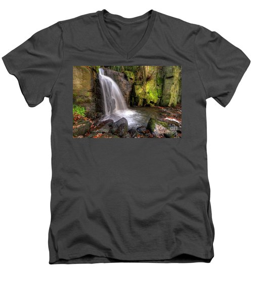 Men's V-Neck T-Shirt featuring the photograph Lumsdale Falls 3.0 by Yhun Suarez
