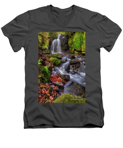 Men's V-Neck T-Shirt featuring the photograph Lumsdale Falls 4.0 by Yhun Suarez
