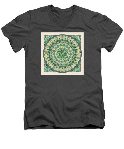 Men's V-Neck T-Shirt featuring the digital art Luna Meditation Mandala by Deborah Smith