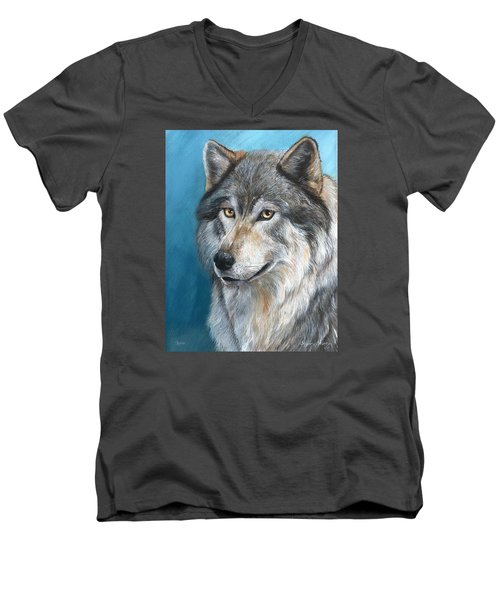 Men's V-Neck T-Shirt featuring the painting Luna by Sherry Shipley