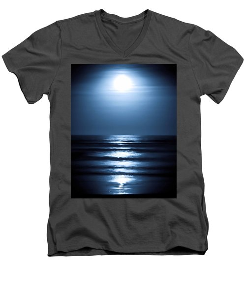 Lunar Dreams Men's V-Neck T-Shirt by DigiArt Diaries by Vicky B Fuller
