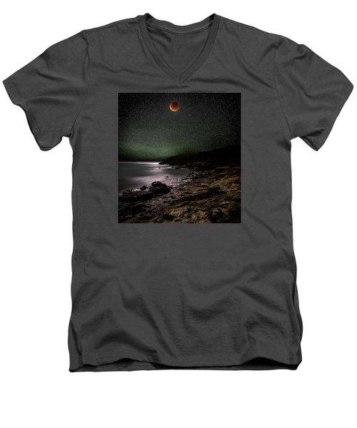 Lunar Eclipse Over Great Head Men's V-Neck T-Shirt by Brent L Ander
