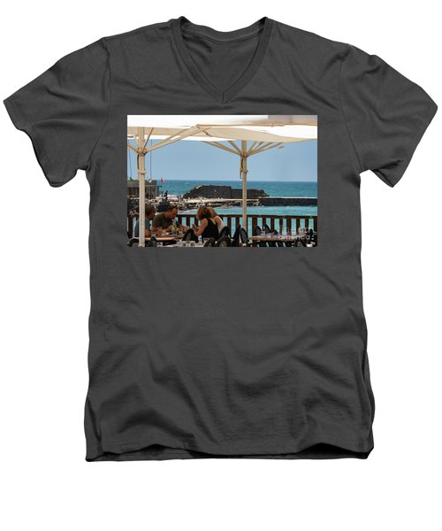 Men's V-Neck T-Shirt featuring the photograph Lunch At The Mediterranean by Mae Wertz