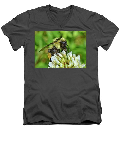 Men's V-Neck T-Shirt featuring the photograph Lunch In The Garden by Ludwig Keck