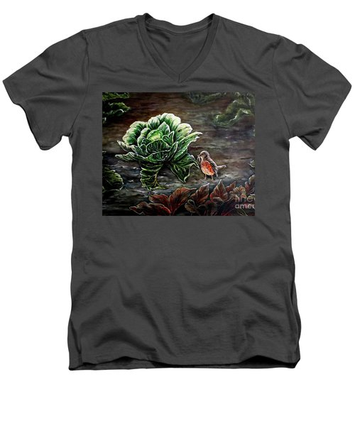 Men's V-Neck T-Shirt featuring the painting Lunch In The Garden by Judy Kirouac