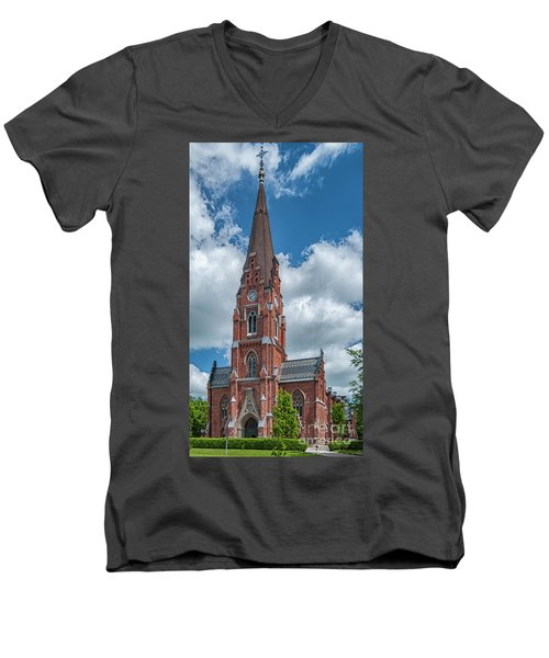 Men's V-Neck T-Shirt featuring the photograph Lund All Saints Church by Antony McAulay