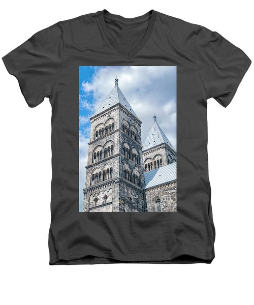 Men's V-Neck T-Shirt featuring the photograph Lund Cathedral In Sweden by Antony McAulay