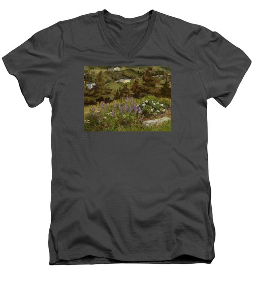 Lupine And Wild Roses Men's V-Neck T-Shirt by Jane Thorpe