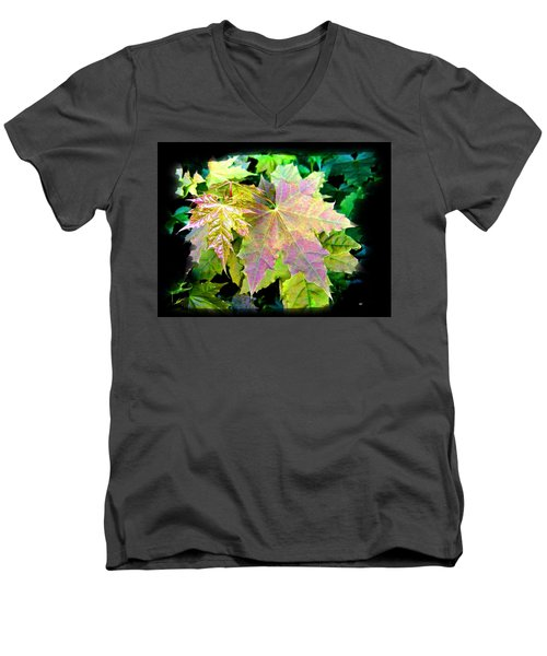 Men's V-Neck T-Shirt featuring the mixed media Lush Spring Foliage by Will Borden