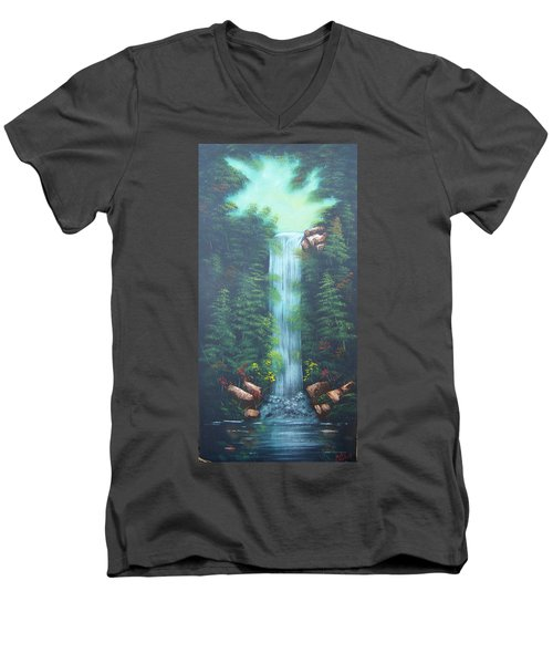 Lush Waterfall Men's V-Neck T-Shirt