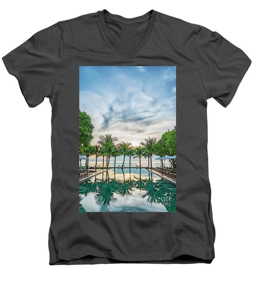 Men's V-Neck T-Shirt featuring the photograph Luxury Pool In Paradise by Antony McAulay