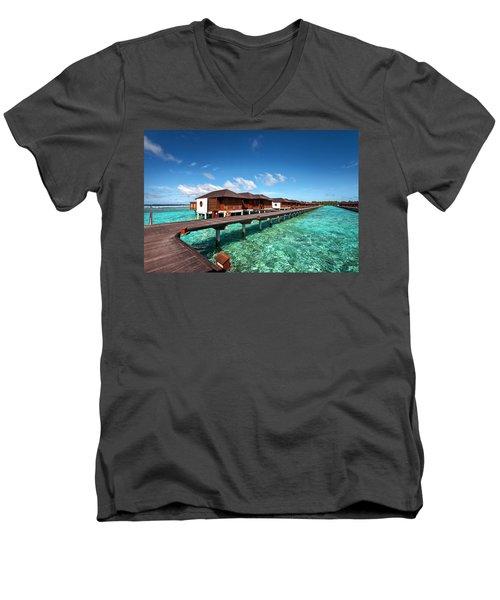 Men's V-Neck T-Shirt featuring the photograph Luxury Water Villas Of Maldivian Resort by Jenny Rainbow