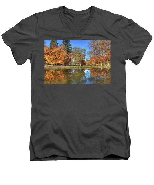 Men's V-Neck T-Shirt featuring the photograph Lykens Glen Reflections by Lori Deiter