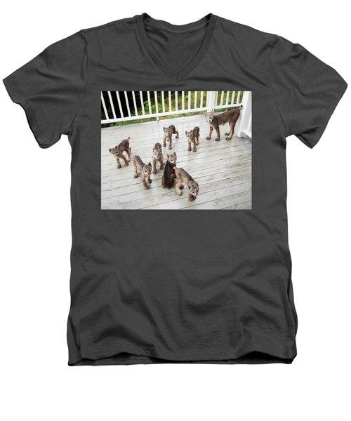 Lynx Family Portrait 11x14 Men's V-Neck T-Shirt