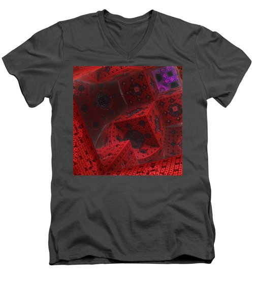 Men's V-Neck T-Shirt featuring the digital art M Cubed by Lyle Hatch