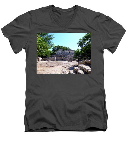 Men's V-Neck T-Shirt featuring the photograph M Ruin by Francesca Mackenney