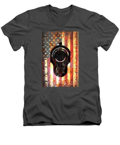 M1911 Colt 45 On Rusted American Flag Men's V-Neck T-Shirt
