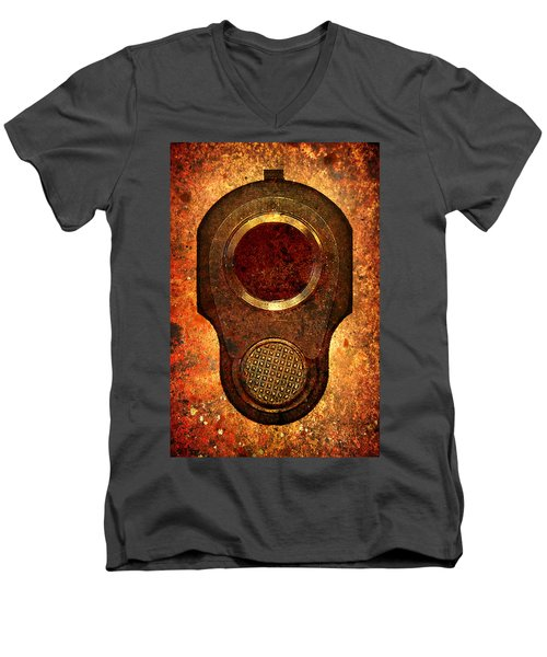M1911 Muzzle On Rusted Background Men's V-Neck T-Shirt by M L C