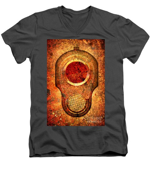 M1911 Muzzle On Rusted Background - With Red Filter Men's V-Neck T-Shirt by M L C
