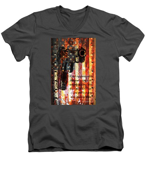 M1911 Pistol And Second Amendment On Rusted American Flag Men's V-Neck T-Shirt by M L C
