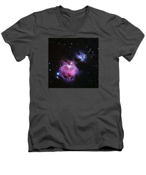 M42--the Great Nebula In Orion Men's V-Neck T-Shirt by Alan Vance Ley