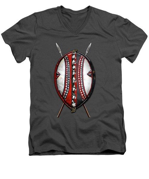 Maasai War Shield With Spears On Red Velvet  Men's V-Neck T-Shirt