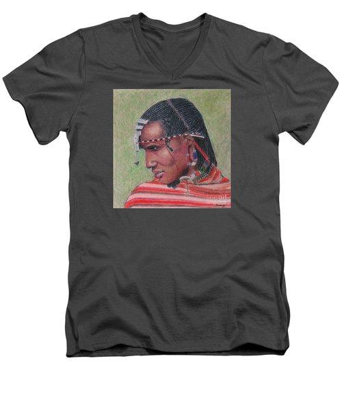 Maasai Warrior II -- Portrait Of African Tribal Man Men's V-Neck T-Shirt