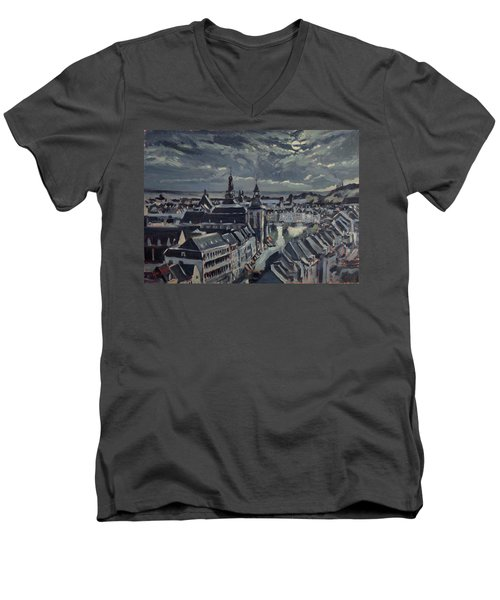 Maastricht By Moon Light Men's V-Neck T-Shirt by Nop Briex