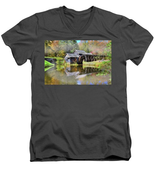 Mabry Grist Mill Men's V-Neck T-Shirt by Sharon Batdorf