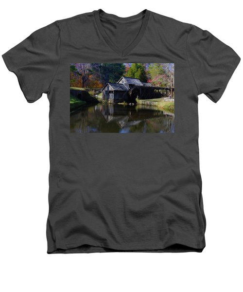 Men's V-Neck T-Shirt featuring the photograph Mabrys Mill On The Blue Ridge by B Wayne Mullins