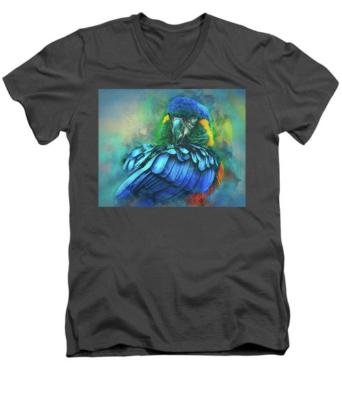 Macaw Magic Men's V-Neck T-Shirt by Brian Tarr