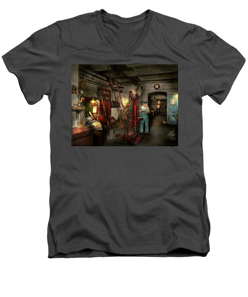 Men's V-Neck T-Shirt featuring the photograph Machinist - Government Approved 1919 by Mike Savad
