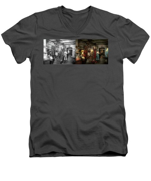 Men's V-Neck T-Shirt featuring the photograph Machinist - Government Approved 1919 - Side By Side by Mike Savad