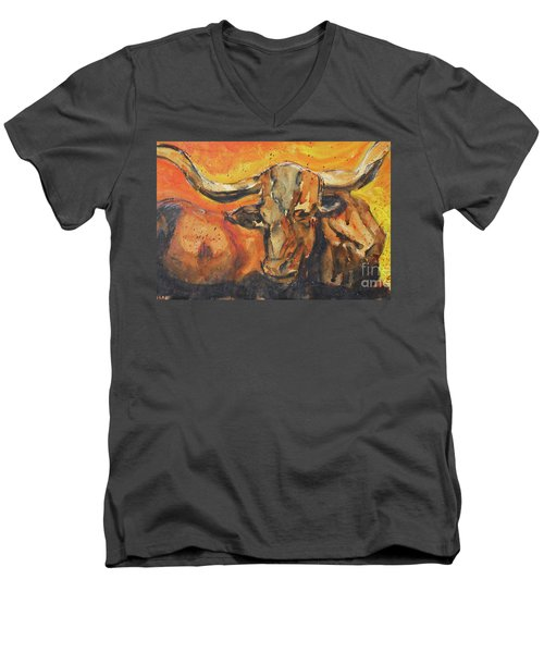 Macho Longhorn Men's V-Neck T-Shirt by Ron Stephens