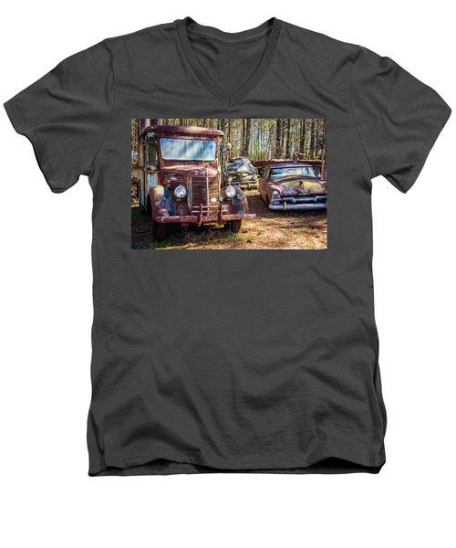 Mack Truck And Plymouth Men's V-Neck T-Shirt