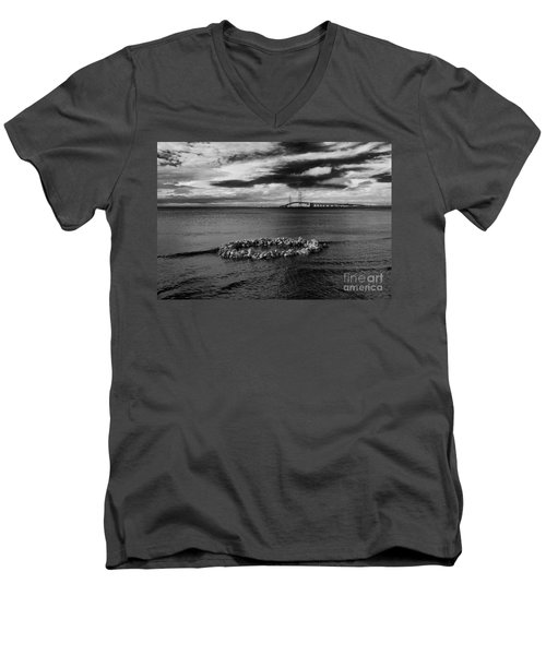 Mackinac Bridge - Infrared 03 Men's V-Neck T-Shirt