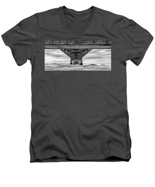 Men's V-Neck T-Shirt featuring the photograph Mackinac Bridge In Winter Underneath  by John McGraw