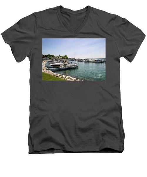 Mackinac Island Marina Men's V-Neck T-Shirt