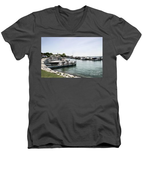 Mackinac Marina Art Men's V-Neck T-Shirt
