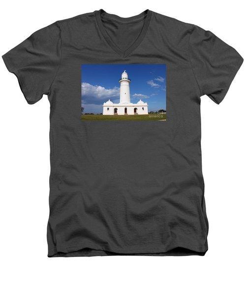 Macquarie Light House Men's V-Neck T-Shirt by Bev Conover