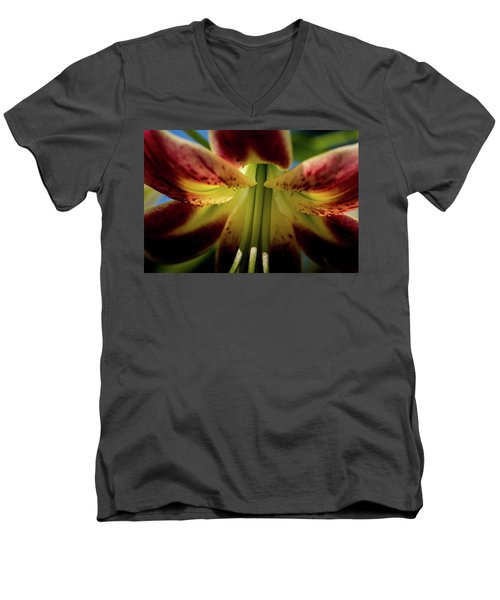 Men's V-Neck T-Shirt featuring the photograph Macro Flower by Jay Stockhaus