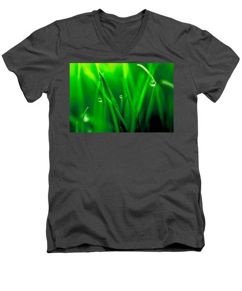 Macro Image Of Fresh Green Grass Men's V-Neck T-Shirt